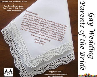 Gay Wedding ~ Parents of the Bride Gift the Bride L111 Title, Sign & Date Free! Poem Printed Wedding Hankie Mother of the Bride Gift