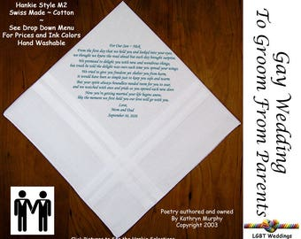 Gay Wedding ~ Groom Gift From Mom and Dad Wedding Hankie w/ Printed Poem G708  Sign and Date For Free! ~ 8 Ink Colors  LGBT Groom and Groom