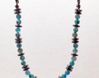 """Blue Kiwi Jasper & AAA Hematite 20"""" adjustable Necklace"""