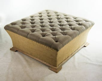 Webster Burlap and Linen Large Tufted Ottoman