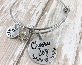Expandable Bangle Bracelet, Choose Joy, Hand stamped bracelet, Yoga bracelet, Yoga jewelry, Inspirational jewelry, Inspirational charm, Joy