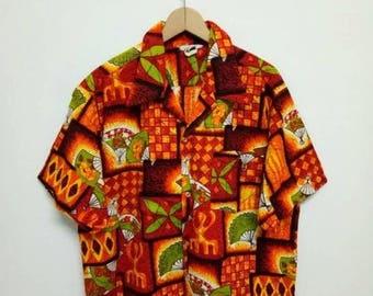 20% OFF Vintage 70s Hawaiian Cotton Shirt Rare Sun Surf Kamehameha Hawaiian Shirt