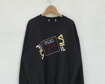 20% OFF Vintage Fila Embroidery Big Logo Sweatshirt/Fila Sweater/Casual Clothing/Fila Sport Sweater/Fila Italia