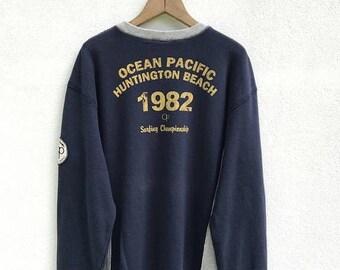 20% OFF Vintage Ocean Pacific Huntington Beach Sweatshirt / Op Sweater / Hawaiian Sweatshirt / Op Big Logo / Surfing / Surfboarding / Armpit