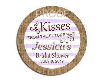 Bridal Shower Favor Labels, Kisses from the Future Mrs, Rustic BOHO Burlap Purple Lilac, Personalized Mason Jar Lid Label for Hershey Kisses