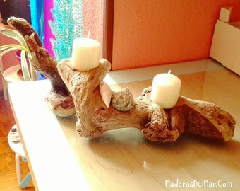 Candle holder is Light. Sea wood. Candle holder in wood, rustic decor, home decor. Driftwood candle holder