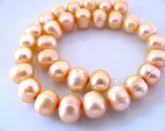 Fresh Water Pearls, 8 inch strand, 31 beads, 7x8mm, roundels, peach beads, Jewelry supply B-1482