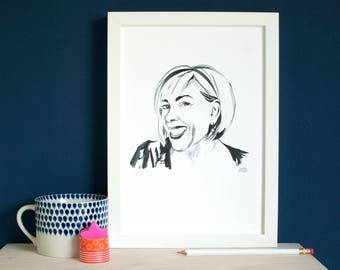 Personalised Ink Portrait, a custom portrait of you as a giclée print, an ink sketch printed on A4 100% cotton paper, original sketch too