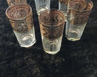 Gold Trimmed Highball Glasses