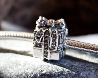 Authentic Sterling Silver Sparkling Surprise Charm, Gift Box Pave Charm, perfect fit for pandora or european bracelets