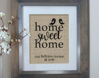 Personalized Address Sign | House Warming Gift | New Home Housewarming Gift | Home Sweet Home Burlap Print | New Homeowner | New House Gift