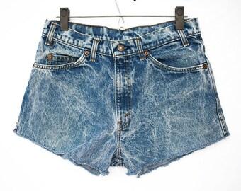 Size 30 Vintage Levi Cut off Shorts, Waist Size 30 Levi Cut Offs, Size 30 Vintage Levi Shorts, Acid Wash Levi Shorts, Vintage Denim Shorts