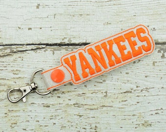 Yankees Keychain - Bag Tag - Small Gift - Gift for Her - Thank You Gift - Bag Accessory - Zipper Pull - Team Spirit