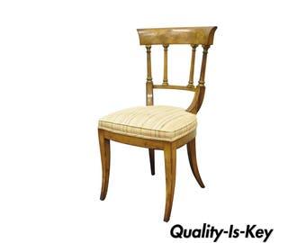 Antique Regency Empire Style Solid Wood Klismos Saber Leg Side Desk Accent  Chair