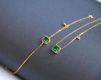 Emerald green cubic zirconia 925 silver and  plating with 18 kgold  bracelet