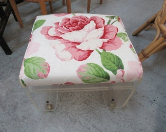 Newly Upholstered Lucite Bench Stool