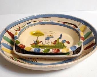 "Mexican Tlaquepaque Touristware Primitive Folk Art Clay Pottery c. 1940s-1950s Includes 11.5"" Dish, 7.75"" Rectangular Dish, & 8"" Oval Dish"