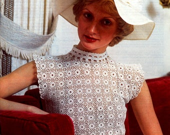 Vintage Crochet Blouse Pattern .. Ladies Crochet Top .. PDF Crochet Pattern .. Elegant, Very Pretty .. Instant Download