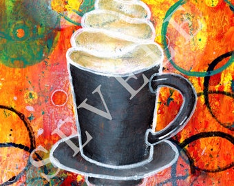 Hot chocolate art print 5x7 acrylic painting glossy photopaper