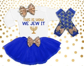 Hanukkah Outfit Baby Girl 1st Hanukkah Outfit Girl's Hanukkah Outfit Baby Girl Hanukkah Shirt This is How we Jew it
