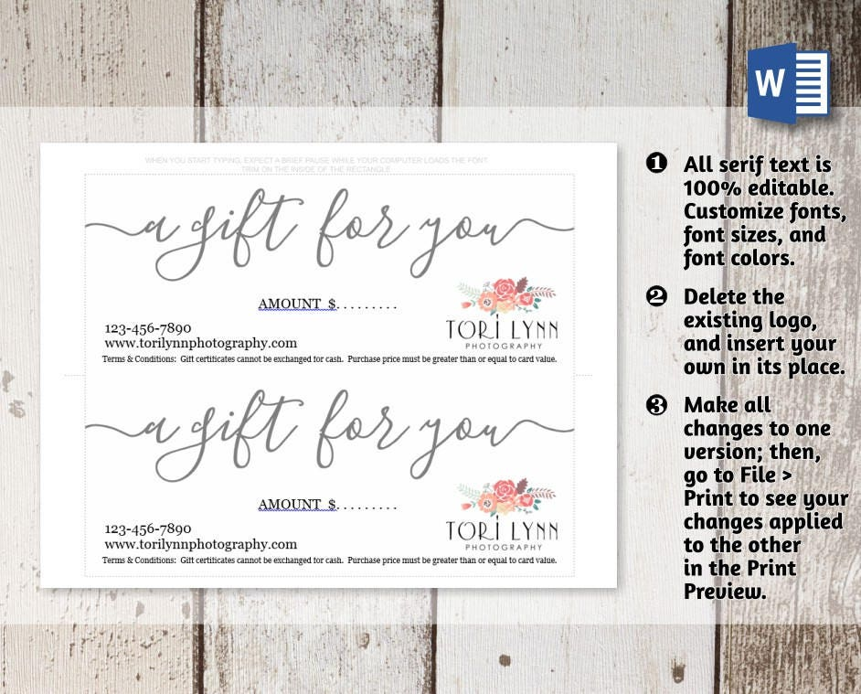 Printable Gift Certificate, Gift Card Template, Simple Rustic ...