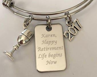 Retirement bracelet, Happy Retirement engraved Bracelet, charm engraved