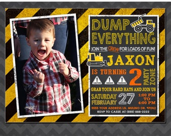 Construction birthday invitations, Construction party invitations, Dump truck invitation, Construction birthday party invitation, Photo