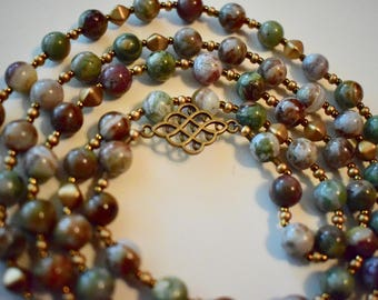 Beautiful Purple and Green Opal Beaded Necklace