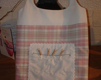 Pink and white gingham Pyjama clothespins