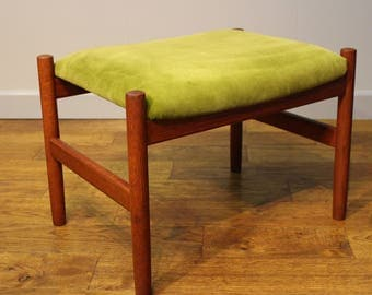 Vintage Danish Stool upholstered in green velvet.