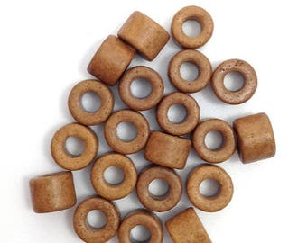 SALE 10% OFF Cylindrical, light brown, 6 mm, 20 pieces, ceramic beads 20 pottery, Greek, greek ceramic beads, Brown