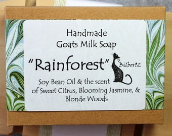 Rainforest - Goats Milk Soap with Soybean oil with the scent of Sweet Citrus, Blooming Jasmine and Blonde Woods