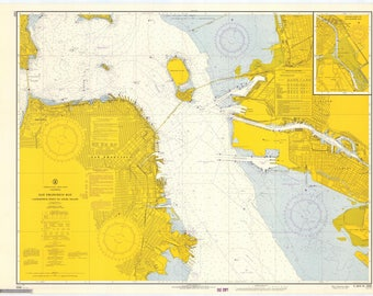 San Francisco Bay Map - Candlestick Point to Angel Island - 1966