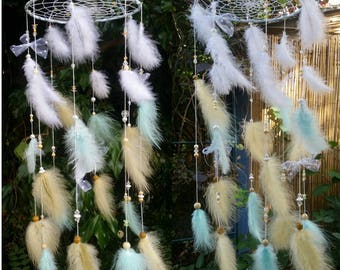 Mobile dream catcher with feathers Mint and pastel yellow