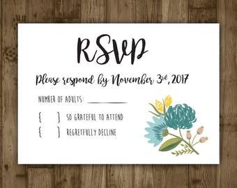 Wedding RSVP Card - Blue Watercolor Flowers
