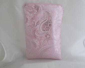 Brocade Tarot Card Bag Pink and Silver with Pink Satin Lining and Zipper Dice Makeup Pouch Fancy