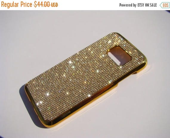 Sale Galaxy S7 Gold Topaz Crystals on Gold-Bronze Chrome Case. Velvet/Silk Pouch Bag Included, Genuine Rangsee Crystal Cases.
