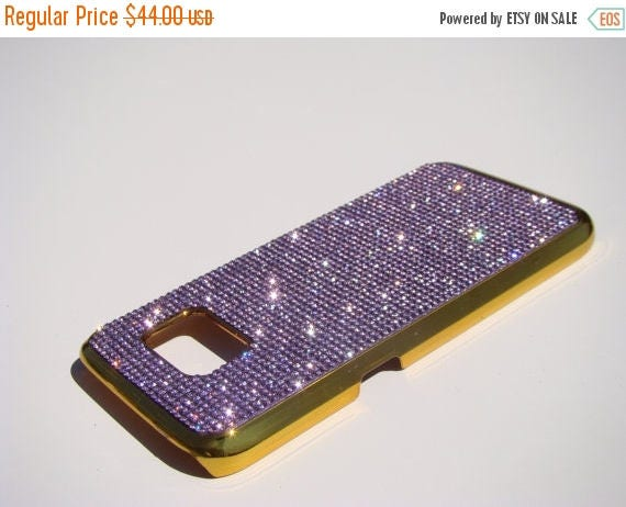 Sale Galaxy S7 Purple Amethyst Rhinestone Crystals on Gold-Bronze Chrome Case. Velvet/Silk Pouch Bag Included, Genuine Rangsee Crystal Cases