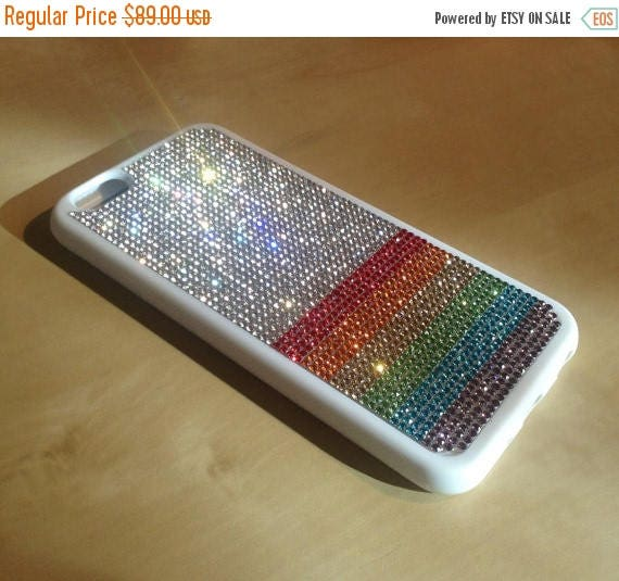"""Sale iPhone 6 / 6s  4.7"""" Rainbow  """" PRIDE """" Rhinestone Crystals White Rubber Case. Velvet/Silk Pouch Bag Included, Genuine Rangsee Crystal C"""