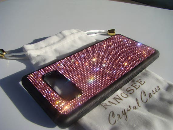 Galaxy Note 8 Pink Rose Rhinestone Crystals on Black Rubber Note 8 Case. Velvet/Silk Pouch Bag Included, Genuine Rangsee Crystal Cases.