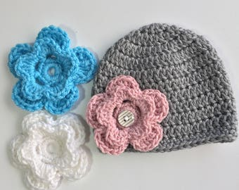 Gray Interchangeable Flower Hat, Ready to Ship, Crochet Baby Hat, Flower Hat, Baby Girl Hat, Button Hat, Photo Prop