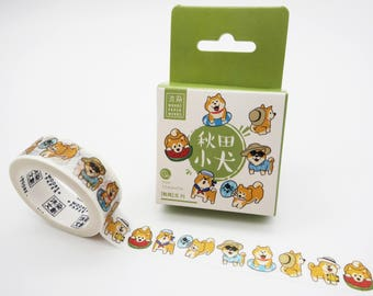 Cute Shiba Inu washi tape, Japanese washi tape, kawaii washi tape, dog masking tape, kawaii shiba inu, cute planner tape, deco tape cute dog