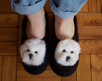 Black Felted Slippers