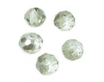 Pearl Crystal glass quartz grey 3x4mm