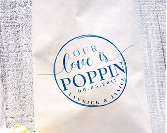 Popcorn Favor Lined Bag, Midnight SnackFavor Bag, Custom Favor Bag, Popcorn Bag, Dessert Table, Candy Table, Wedding Favor, Love is Sweet