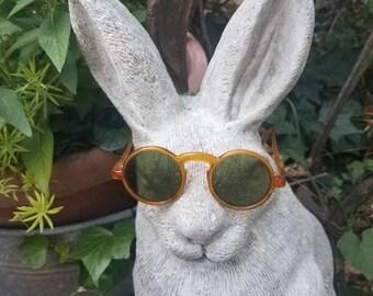 Celluloid Childs Sunglasses Antique Keyhole Nose Bridge Round Lenses