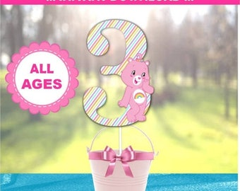 60% OFF Care Bear Centerpiece Designs,60 Percent savings  Party Decorations, instant download, Care Bear Inspired, Cheer Bear, Rainbow, All