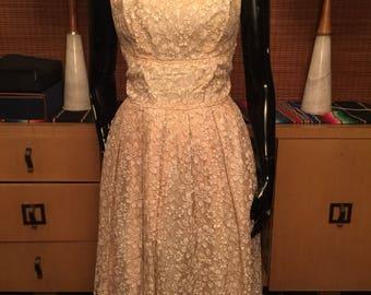 1950's Pale Peach Lace Dress