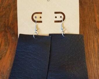 Black faux leather earrings, large