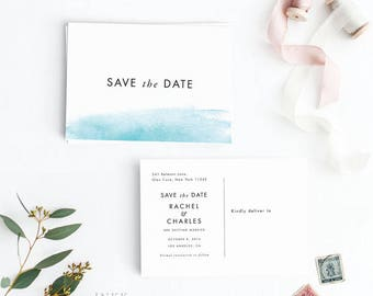 Printable Save the Date Postcard Printable, Watercolor Beach Save the Date Postcard, Wedding Invites, Letter or A4 Size (Item code: P1055)